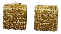 Mens,Ladies,10k,Yellow,Gold,Yellow,Diamond,Studs,3-d,Block,Pave,Earrings,1.10,Ct