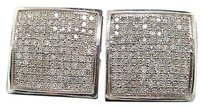 Square,Diamond,Studs,Sterling,Silver,White,Gold,Finish,Mens,Pave,Earrings,1,Ctw.