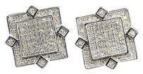 Diamond,Studs,Square,Shape,4,Point,Mens,Ladies,10k,White,Gold,Earrings,0.40,Ct.