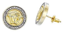 Diamond,Medusa,Studs,.925,Sterling,Silver,Yellow,Finish,Mens,Earrings,0.20,Ct