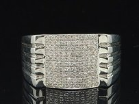 Diamond Fashion Ring Mens 14k White Gold Round Pave Textured Pinky Band 0.44 Ct.
