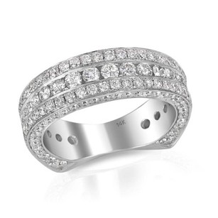 Round Diamond Wedding Anniversary Band Ladies Antique 14k White Gold 2.05 Ct.