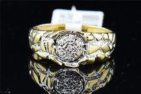 Mens 10k Yellow Gold Nugget Style Round Cut Diamond Engagement Ring Wedding Band