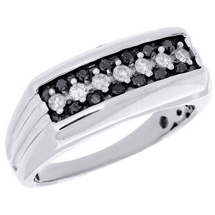 Black Diamond Wedding Band Round Cut White Gold Finish Engagement Ring 0.50 Ct.