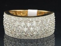 Diamond Wedding Band Ladies 14k Yellow Gold Round Cut Anniversary Ring 1.65 Ct.