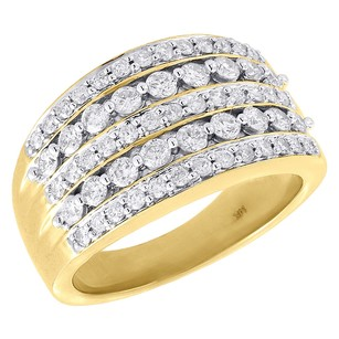Ladies14kyellowgoldrounddiamondweddingbanddesignerengagementring1ct.