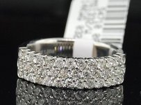 Ladies 14k White Gold 1.00 Ct. Round Diamond 3 Row Wedding Band Promise Ring