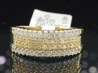 Ladies 10k Yellow Gold White Designer Diamond Engagement Ring Wedding Band 34ct