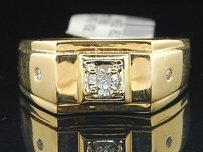 Diamond Ring Solitaire 14k Yellow Gold Mens Engagement Wedding Band 0.25 Ct.