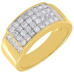 Diamond Wedding Band Round Cut 10k Yellow Gold Domed Mens Pave Ring 1.36 Ct.