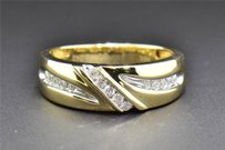 14k Yellow Gold Diamond Wedding Band Round Cut Mens Engagement Ring 0.24 Ct