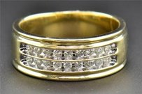 Diamond Wedding Band 14k Yellow Gold Round Cut Mens Channel Setting Ring 0.51 Ct