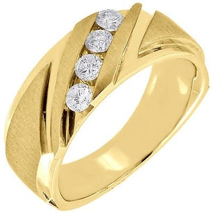 Diamond Band 4 Stone 14k Yellow Gold Brushed Finish Round Cut Mens Ring 0.47 Tcw