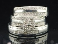 Diamond Trio Set His Hers Matching Engagement Ring Wedding Band Sterling Silver