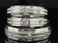 Diamond Solitaire Trio Set 14k White Gold Round Matching Wedding Ring 0.34 Tcw.