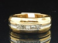 Diamond 5 Stone Wedding Band Mens 14k Yellow Gold Princess Cut Ring 0.60 Tcw.