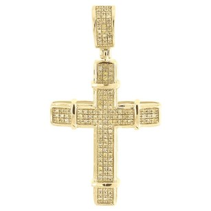 Other Yellow Diamond Cross Pendant Mens 10k Gold Round Pave Design Charm 0.35 Tcw.
