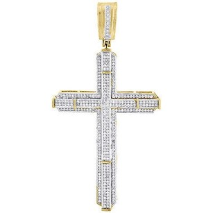 Jewelry For Less Yellow Gold Diamond Cross Charm Mens Round Cut Fashion Pave Pendant 1 Ct.