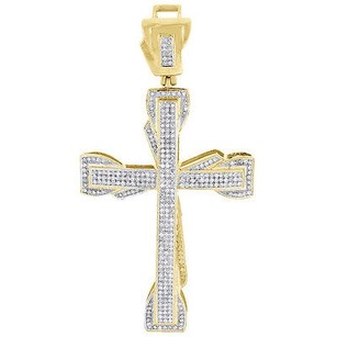 Jewelry For Less Yellow Gold Diamond Cross Pendant Mens Round Cut Fashion Pave Charm 0.95 Ct.