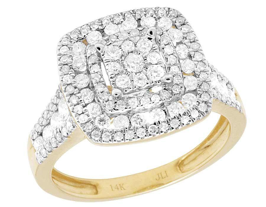 Jewelry Unlimited 10k Yellow Gold Ladies Diamond Square Cluster