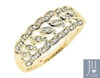 Jewelry Unlimited 10k Yellow Gold Milgrain Scallop Leaves Design Diamond Wedding Ring Band .10ct.