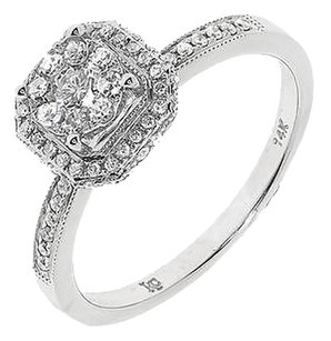Jewelry Unlimited 14k,White,Gold,Ladies,Round,Diamond,Octagon,Engagement,Wedding,Ring,0.50,Ct