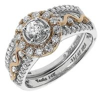 Jewelry Unlimited 14k,Gold,Two,Tone,Solitaire,Diamond,Art,Deco,Engagement,Bridal,Ring,Set,1ct