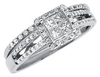 Jewelry Unlimited 10k,White,Gold,Ladies,Princess,Round,Diamond,Engagement,Bridal,Ring,Set,0.57,Ct