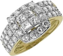 Jewelry Unlimited 10k,Yellow,Gold,Ladies,Princess,Diamond,Bridal,Wedding,Engagement,Ring,Set,2,Ct