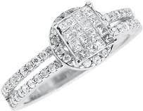 Jewelry Unlimited 14k,White,Gold,Ladies,Round,Princess,Diamond,Engagement,Wedding,Ring,0.64,Ct