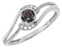Jewelry Unlimited 10k,White,Gold,Ladies,Brown,Solitaire,Diamond,Engagement,Wedding,Ring,0.15,Ct