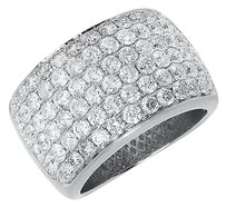 Jewelry Unlimited 14k,White,Gold,4ct,Round,Pave,Diamond,Wedding,Fashion,Cocktail,14mm,Band,Ring