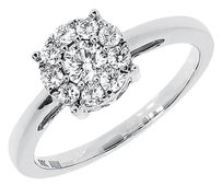 Jewelry Unlimited 14k,White,Gold,Ladies,Round,Diamond,Cluster,Engagement,Wedding,Ring,0.50,Ct