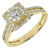 Jewelry Unlimited 14k,Yellow,Gold,Ladies,Round,Cluster,Diamond,Halo,Engagement,Wedding,Ring,0.75ct