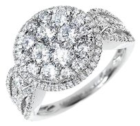 Jewelry Unlimited 14k,White,Gold,Ladies,Round,Diamond,Cluster,Engagement,Fashion,Cocktail,Ring,2ct