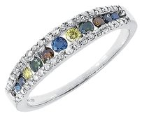 Jewelry Unlimited 14k,White,Gold,Ladies,Multi,Color,Fancy,Diamond,4mm,Fashion,Band,Ring,0.57,Ct