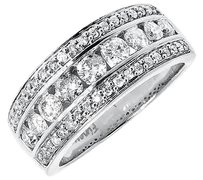 Jewelry Unlimited 14k,White,Gold,Mens,Three,Row,Round,Channel,Diamond,8mm,Wedding,Band,Ring,1,Ct