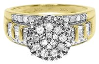 Jewelry Unlimited 10k,Yellow,Gold,Ladies,Round,Diamond,Cluster,Engagement,Cocktail,Ring,0.95,Ct