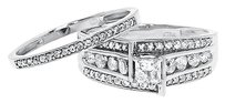 Jewelry Unlimited 10k,White,Gold,Ladies,Princess,Solitaire,Diamond,Bridal,Wedding,Ring,Set,1,Ct
