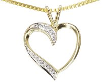 Jewelry Unlimited 10k,Yellow,Gold,Ladies,Genuine,Diamond,Heart,Fashion,Pendant,Charm