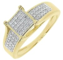 Jewelry Unlimited Yellow,Gold,Finish,Ladies,Round,Pave,Diamond,Engagement,Wedding,Ring,0.33,Ct