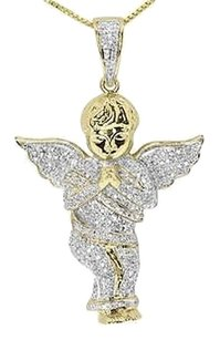 Jewelry Unlimited 10k,Yellow,Gold,1.65,Pave,Diamond,Iced,Out,Praying,Angel,Pendant,Charm,1.5,Ct