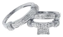Jewelry Unlimited 10k,White,Gold,Mens,Ladies,Round,Pave,Diamond,Wedding,Trio,Ring,Set,0.85,Ct