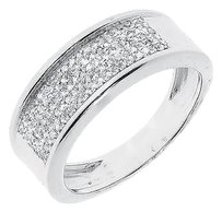 Jewelry Unlimited White,Gold,Finsih,Mens,7.5mm,Pave,Round,Diamond,Wedding,Fashion,Band,Ring,13,Ct