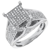 Jewelry Unlimited 10k,White,Gold,Ladies,Square,Pave,Round,Diamond,Engagement,Wedding,Ring,1.05,Ct