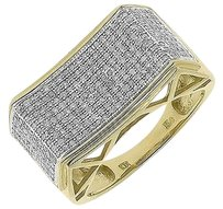 Jewelry Unlimited 10k,Yellow,Gold,Mens,11mm,Pave,Diamond,Concave,Fashion,Wedding,Band,Ring,1,Ct