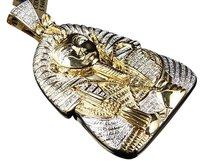 Jewelry Unlimited 1.2,Ct,Egyptian,Pharaoh,King,Tut,Real,Diamond,2.5,Pendant,10k,Yellow,Gold,20gm