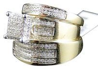 Jewelry Unlimited 10k,Or,Jaune,Round,De,Fianailles,En,Diamants,Marie,Bague,Mariage,Trio