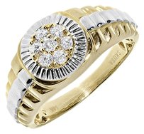 Jewelry Unlimited 14k,Two-tone,Mens,Round,Cluster,Diamond,Wedding,Fashion,Pinky,Band,Ring,13,Ct