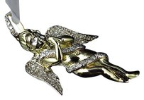 Jewelry Unlimited 10k,Yellow,Gold,Genuine,Diamond,Icy,3d,Ribbon,Angel,2,Pendant,Charm,1.0ct